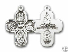 "FIVE WAY SAINT CATHOLIC  ""Pewter"" Medal / Pendant 24"" Heavy Stainless Chain"
