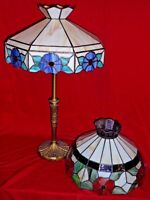 Antique Metal Table Lamp w/ Two Slag Leaded Glass Shades