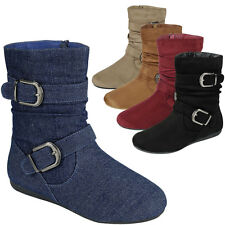 New Womens Round Toe Slouchy Comfy Tall Ankle Booties Flat Boot Buckle Strap Zip