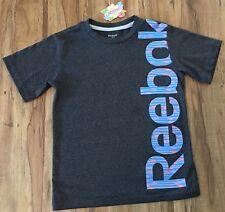 REEBOK PLAYDRY Boys XS 6-8 Grey VECTOR Logo Graphic Active T-Shirt Top *TB