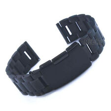 24mm Black Stainless Steel Watch Band Strap Bracelet Straight End Solid Link PVD