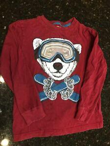 Gymboree Kid Boy Mix N Match Shirt Skiing Polar Bear Dark Red SIZE MEDIUM 7-8