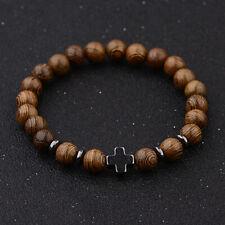Fashion Men's Charm 8mm Wood Beads Hematite Cross Energy Yoga Reiki Bracelets