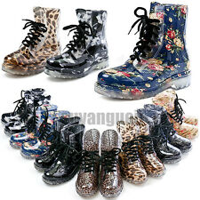 ladies Floral flat clear jelly wellies mesh leopard Martin ankle rain boot shoes