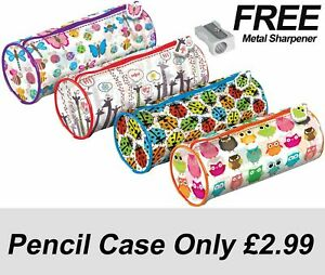 Pencil Case - 20cm Cylinder Case - PVC - Lady Bugs, Butterfly, Owls,giraffe