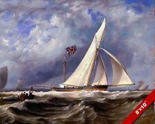 193 TON BRITISH YACHT SHIP AT SEA SEASCAPE OCEAN PAINTING ART REAL CANVAS PRINT