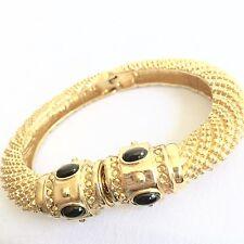 St John Ladies Designer Bracelet Clamper Swarvoski Crystal Onyx Gold Mothers Day