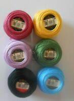 Pack of 6 DMC Perle 8 Cotton Balls Assorted Colours - includes Black