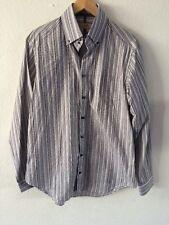 "Marks & Spencer Cotton Shirt 15.5-16"" Collar Grey Mix Stripe <R6064"