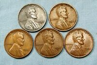 (1) 1943 S  Lincoln Steel Cent & (4) Copper Wheat Varies Date and mint *33903