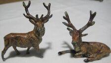 Pair of Miniature 1930s German Lead Christmas Reindeer for Putz Village - Heyde