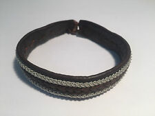 New - SAAMI CRAFTS Pulsera Piel Marrón & Plata - Green Leather & Silver Bracelet