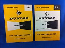 2 Dunlop Preislisten Fahrradreifen H14 G14 1963 Handel Grosshandel ***WIE NEU***