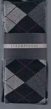 Strick-Strumpfhose, warm+blickdicht, Baumwollmix, Karo, schwarz, 36-38