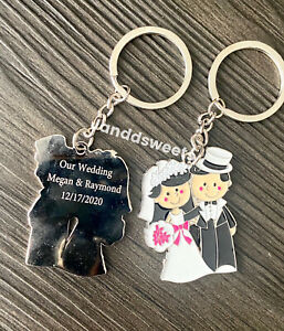 12 Pack Personalized Wedding Favors Key rings Guest Gifts Keychains Engraved