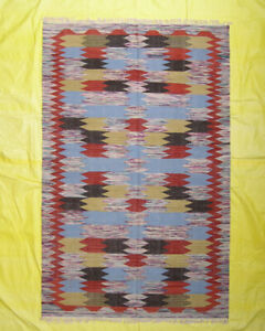 Kilim Design Rug Dhurrie Hand woven 5x8 ft Wool Area Rug Floor Carpet Geometric