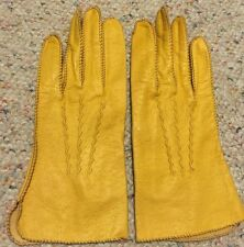Vintage Yellow genuine leather Gloves Size 7 Women's La Crasia