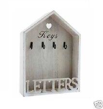 Vintage Natural Letter Rack 4 Key Holder Hooks Storage Shabby Chic Wall Mounted