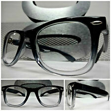 VINTAGE RETRO Style Clear Lens EYE GLASSES Dark Gray & Transparent Fashion Frame