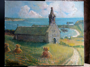 TABLEAU signé Peinture huile toile HST Marine mer Bretagne Finistère Audierne