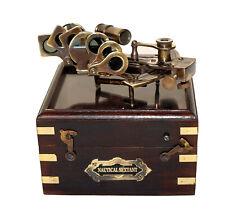 Vintage antique brass nautical sextant kelvin & hughes wood box christmas gift