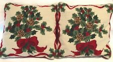 Set of 2 Holiday Needlepoint Pillows Featuring Pine Cones, Holly and Red Ribbon