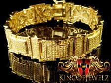 14k MEN AND WOMEN'S YELLOW GOLD FINISH WHITE SIMULATED LAB DIAMOND ICY BRACELET