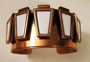 MCM modernist Vintage Signed MATISSE RENOIR Copper & Enamel  cuff Bracelet