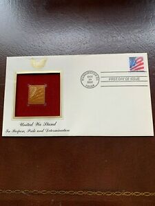 UNITED WE STAND FLAG STAMP 22k GOLD REPLICA OCT 24 2001 FDC 9/11/2001 Gift Idea
