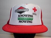 Vtg 90s BRIGGS & STRATTON Lawn Mower AMERICAN RED CROSS Advertising Snapback Hat