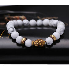 8mm Natural Tibet Gold Buddha Bracelet Lucky Bead Fashion White Spot Stone Man