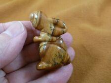 (Y-Bun-St-577) little Tan Jasper Bunny Rabbit Hare gemstone carving Figurine