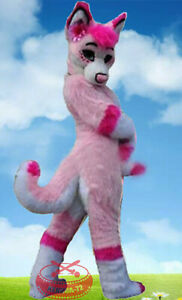 PINK Long Fur Husky Dog Fox Fursuit Mascot Costume Suit Cosplay Dress girl
