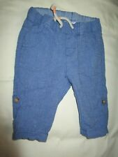 Baby boys H & M 4-6mths  cotton/linen roll up chambray pants   Size 00