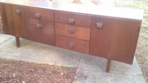 MID CENTURY DANISH MODERN JENS RISOM 6 FOOT 2 DOOR 5 DRAWER TEAKWOOD CREDENZA