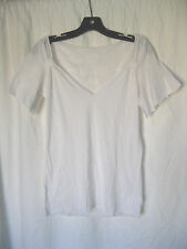 *Lip Service White Iron Cross Patch Raw Edge Gathered Shoulder T Shirt SAMPLE L