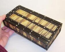 "Vintage/Antique PORCUPINE QUILL Wood/Wooden BOX - 8"" X 4"" - Slide Top"
