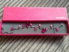 BRIDAL/BRIDESMAID SILVER TONE & PINK COLOURED BEADED BRACELET - BOXED