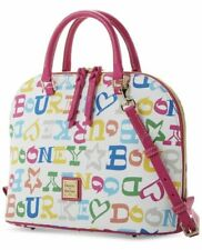 Dooney & Bourke Doodle Coated Cotton Zip Zip Satchel White NWT