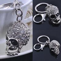 Scary Skeleton Monster Skull Keyring Keychain For Wallet & Keys Halloween Silver
