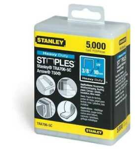 "NEW STANLEY TRA706-5C  PACK (5000) 3/8"" T50 Heavy Duty Crown Staples 4565495"