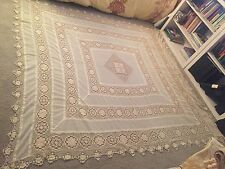 EXQUISITE LARGE VICTORIAN HANDMADE COTTON LACE TABLECLOTH