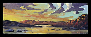 HAWKINS Western Landscape Clouds Mountain Impressionism Oil Art Painting  Signed