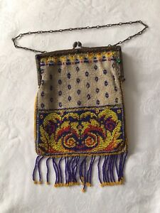 Antike Tasche Abendtasche dekorativ mit bunten Perlen bestickt,sehr guter Zustan