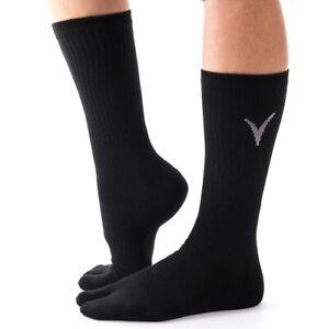 Athletic Tabi Flip Flop Socks - V-Toe Black Crew Kanji Big Toe For Flip-flops