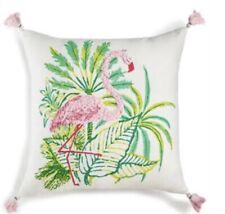 "Whim Martha Stewart Flirty Flamingo 18"" X 18"" Decorative Pillow Pink/Green/Ivory"