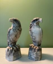 More details for c19th pair of carved marble hawks with glass eyes 16cm high