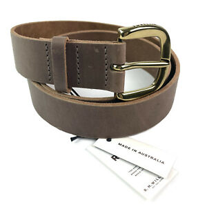RM Williams Brown Cowhide Scrap Leather Belt Branded Buckle Size 38 Made In Aus