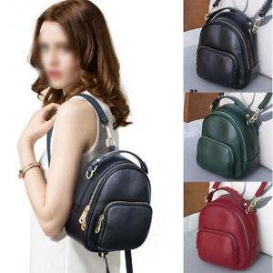 Convertible Real Leather Small Mini Backpack Rucksack Shoulder bag Purse