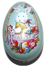 """Mary Engelbreit Easter Bunny Rabbit Egg Tin Container 5"""" Dated 2000"""